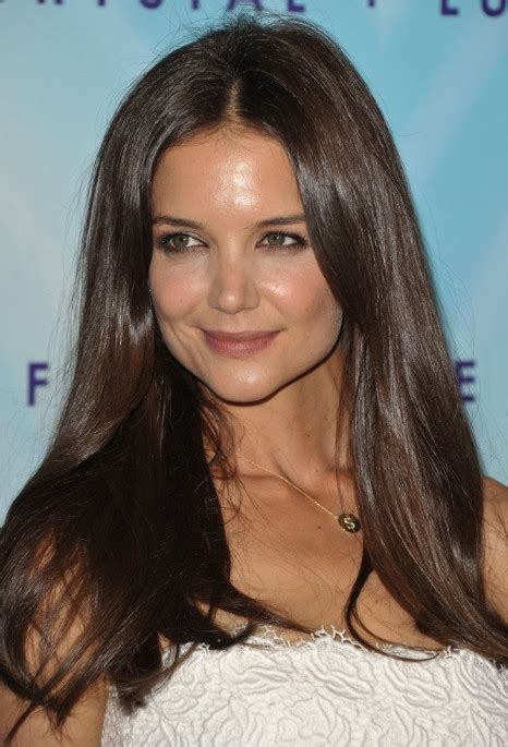 katie holmes center parted long straight hairstyle