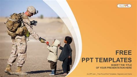 military powerpoint soldier and children powerpoint templates