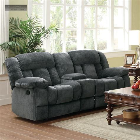 Recliner Loveseats With Console by New Grey Rocker Glider Recliner Loveseat Lazy Sofa