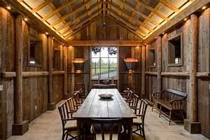Rustic Metal Ceilings With Distressed Wood Dining Room