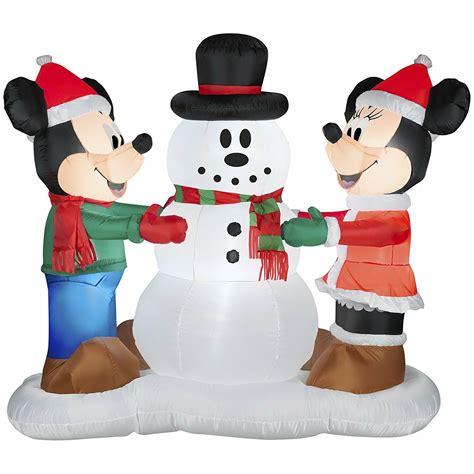 disney mickey minnie making snowman airblown inflatable
