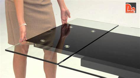 modrest barium contemporary black glass extendable dining