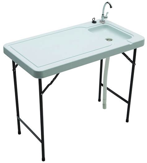 folding fish cleaning table outdoor sink stainless steel faucet portable utility