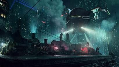 Cyberpunk Rain Night Futuristic Wallpapers Background Sci