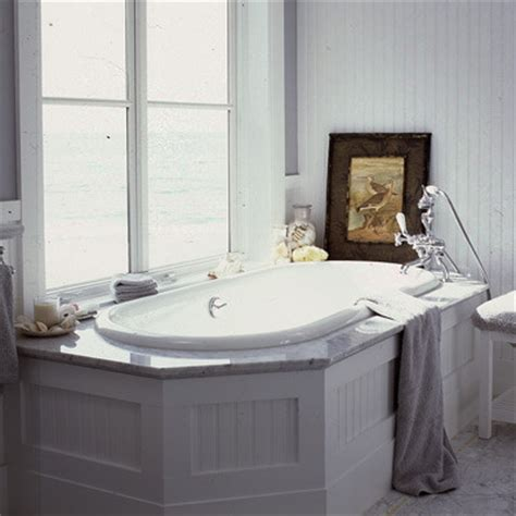 Drop In Tub Surround beadboard white carrara marble drop in tub bathroom