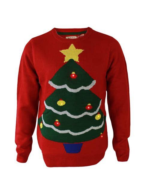 novelty christmas tree jumper led red