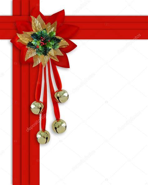 christmas border bells holly  ribbo stock photo