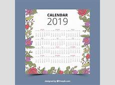 Calendrier 2019 avec des éléments floraux Télécharger