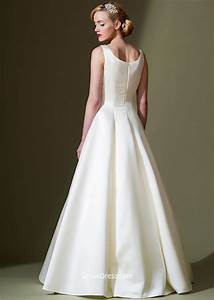 sleeveless a line ivory boat neck simple floor length With simple ivory wedding dresses