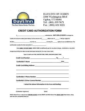 credit card authorization form hotel fill
