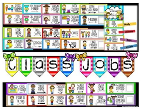 classroom jobs labels classroom helpers  elementary
