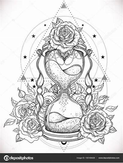 Hourglass Antique Decorative Roses Isolated Coloring Tattoo