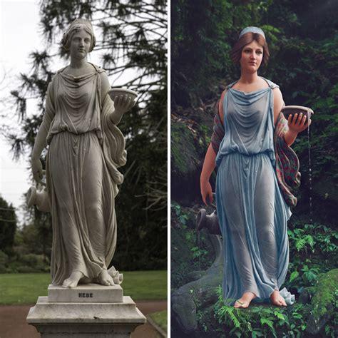 digital artist colorizes  century statues  photoshop