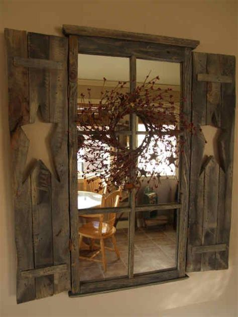 Primitive Window With Mirror Rustic Country