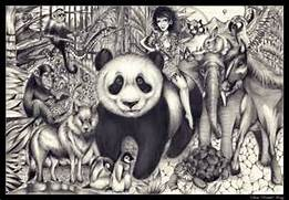 My pencil drawing A3  Girl  Tattoos  Animals  Rainforest  Jungle      Jungle Drawing With Animals