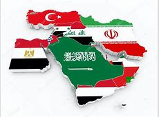 Middle east states 3d map with state flags — Stock Photo