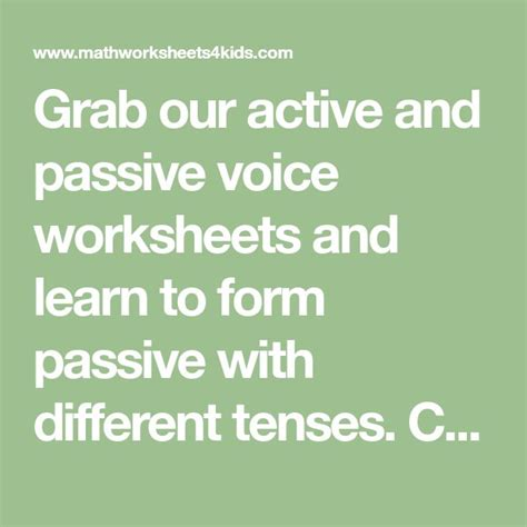 grab  active  passive voice worksheets  learn