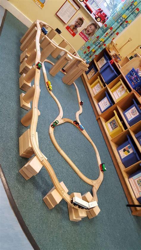 multi elevated train tracks nursery activities blocks
