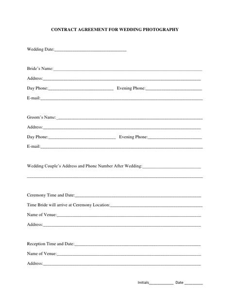 Wedding Photography Contract Agreement