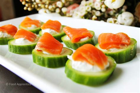 food apprentice smoked salmon cucumber canapés food