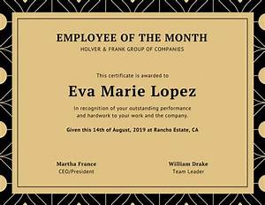 Employee Certificate Templates Free Employee Of The Month Certificate Template With Picture Images Certificate Design And Template