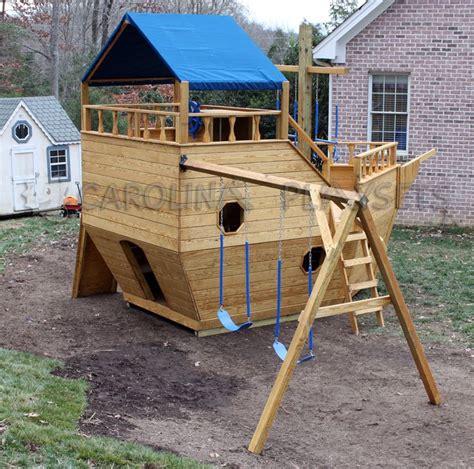 pirateshipplayhouseplans home outdoor wooden playsets large noahs ark ship playset
