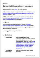 corporate hr consultancy agreement legal document template