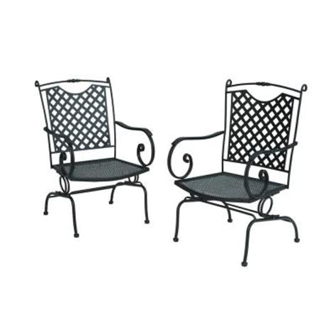 wrought iron lattice back patio dining chairs in