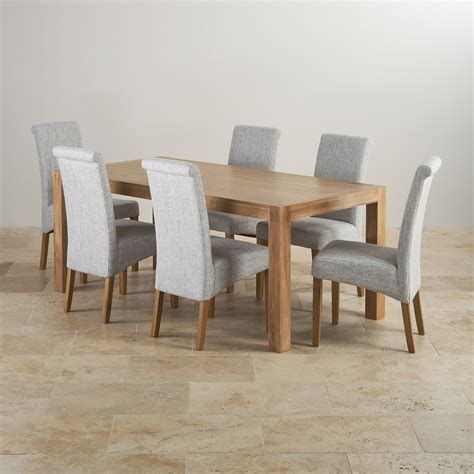 dining table with grey chairs alto solid oak 6ft dining table with 6 grey fabric chairs
