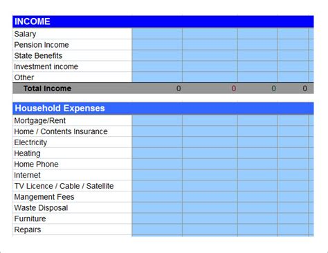 personal budget template    documents