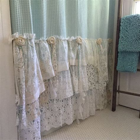 shabby chic kew blue shabby cottage chic shower curtain grey lace ruffle girls bohemian bathroom gift for her