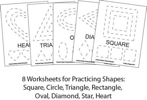 preschool shape tracing worksheet  printables