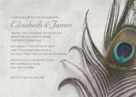 peacock wedding invitation templates  sample