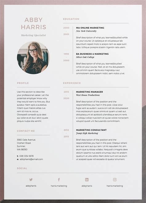 Design Your Own Resume by Professional Resume Cv And Cover Letter Template A