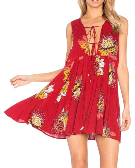 Free People Red Yellow Black Colombian Blue Red Floral Dress on Tradesy