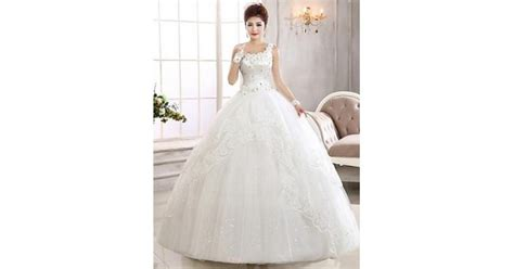 Ball Gown Ankle-length Wedding Dress -one Shoulder Lace
