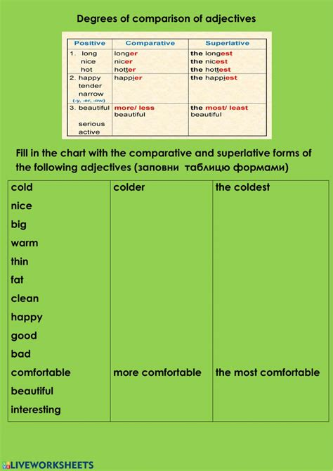 Degrees of comparison worksheet for grade 4