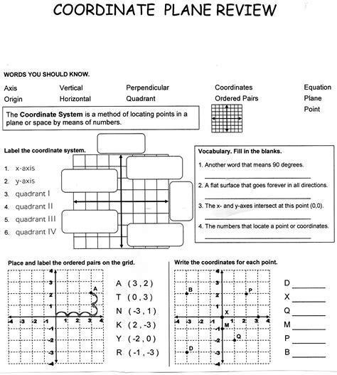 coordinate plane worksheet 6th grade worksheets for all