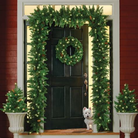 garland around front door stunning outdoor lighted decorations it s 3736