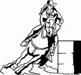 Barrel Racing Rodeo Decal Horse Horses Western Coloring Pages Silhouette Race Decals Sticker Wr Window Barrels Vinyl Printable Cowgirl Drawing sketch template