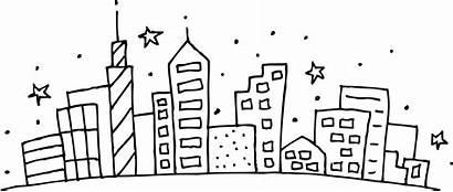 Coloring Cityscape Clip Building Clipart Outline Cities
