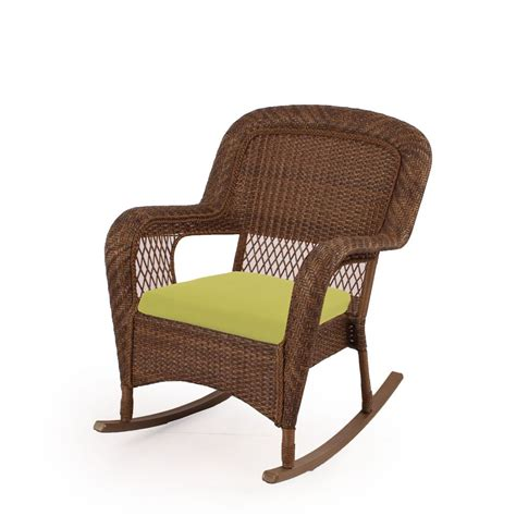 charlottetown brown rocking chair with green cushions 65