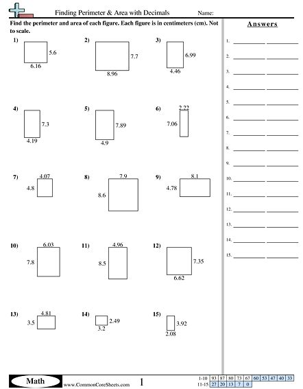 finding perimeter area with decimals worksheet