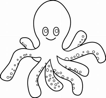 Octopus Coloring Clip Clipart Line Graphics Sweetclipart