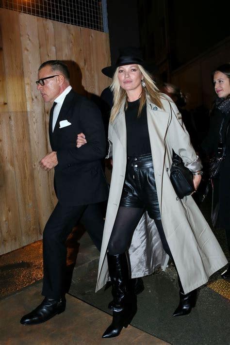 KATE MOSS Arrives at Saint Laurent Fashion Show at Paris ...