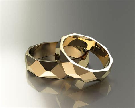 polygon wedding rings  model  printable stl dm