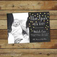 New Years Holiday Card Gender Neutral Typography Newborn