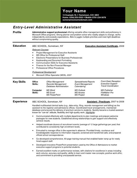 resume exles for administrative assistant entry level