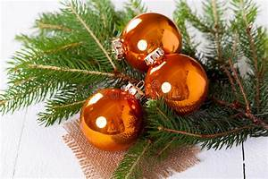 Shiny Bright Copper Colored Christmas Balls Stock Image ...