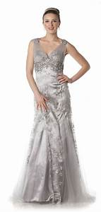 elegant long mother of bride dress in color silver white With silver plus size wedding dresses